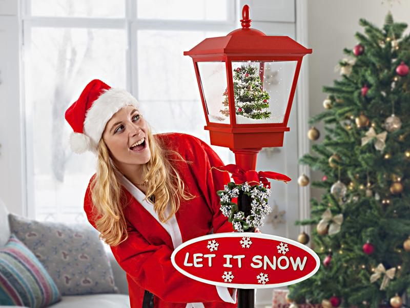 LED jule-gatelykt med snø
