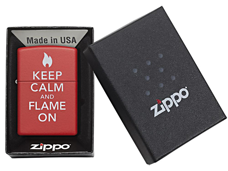 Zippo Lighter - Keep Calm and Flame On_Red Zippo