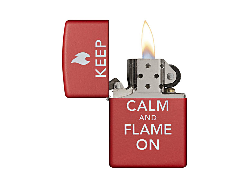 Zippo Lighter - Keep Calm and Flame On_Red